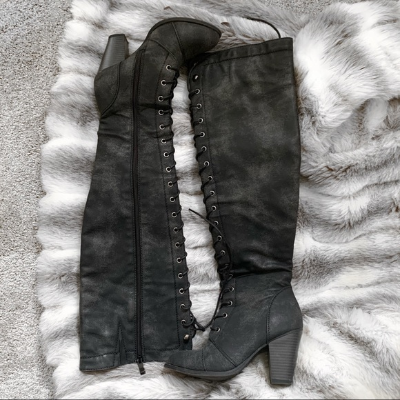 Over the Knee Lace Up Boots